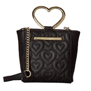 Betsey Johnson Heart Handle Faux Leather Crossbody